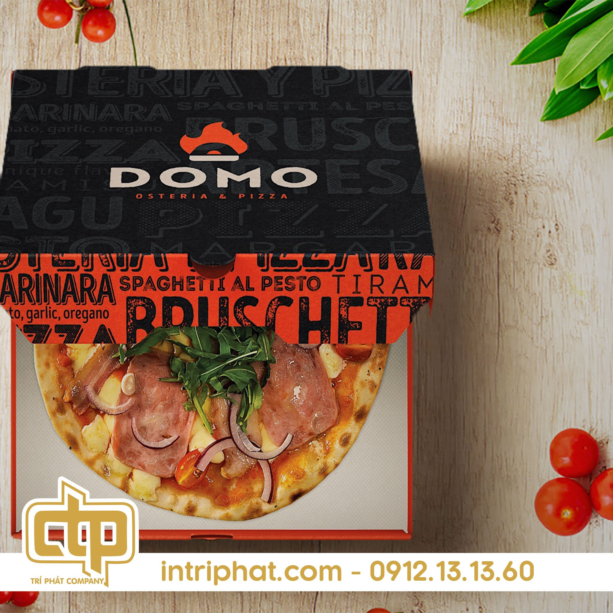 in hộp pizza